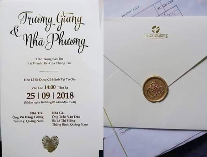 thiệp cưới Trường Giang